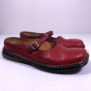 BORN Shoes Leather Slip On Mary Jane Mules Shoes